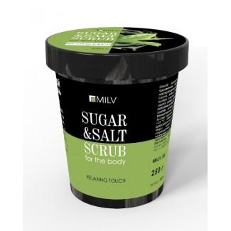 Сахарно-солевой скраб для тела «Зелёный чай». 290 г