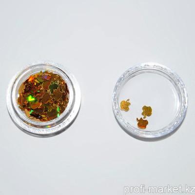 Декор фольгированный (01 Яблоко золото голография)