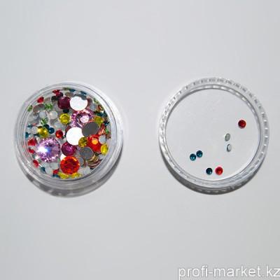 Стразы микс цветов и размеров в баночке (02 Микс №2)