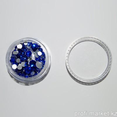 Стразы цветные микс размеров в баночке (02 Микс Sapphire)