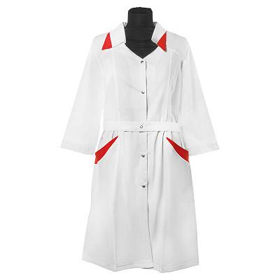 Халат мастера М-040 на кнопках, ткань Тиси, размер 44 NEW (02 Сиреневые вставки)