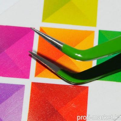 """Р105-00-03 Пинцет для ресниц изогнутый """"IRISK"""", длина 12,5 см (зеленый)"""