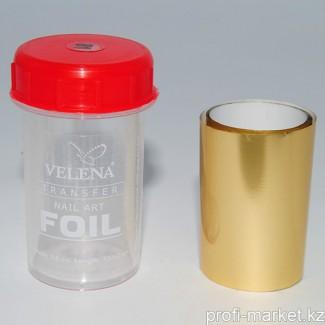 """Переводная фольга для дизайна ногтей 1,2м  №81 """"Velena"""" (золотой матовый металлик)"""