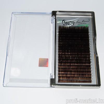 Ресницы на ленте КФест Eva Bond Collection, 20 линий, Ø0,10 D-изгиб, коричневые, MIX