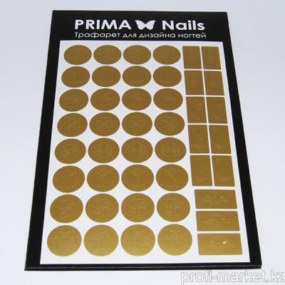 Трафарет для дизайна ногтей PrimaNails. Цветочный микс 2