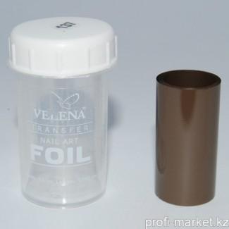 """Переводная фольга для дизайна ногтей 1,2м  №137 """"Velena"""" (черный кофе матовый)"""